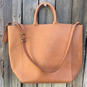 NWT Madewell The Abroad Tote Leather Desert Camel
